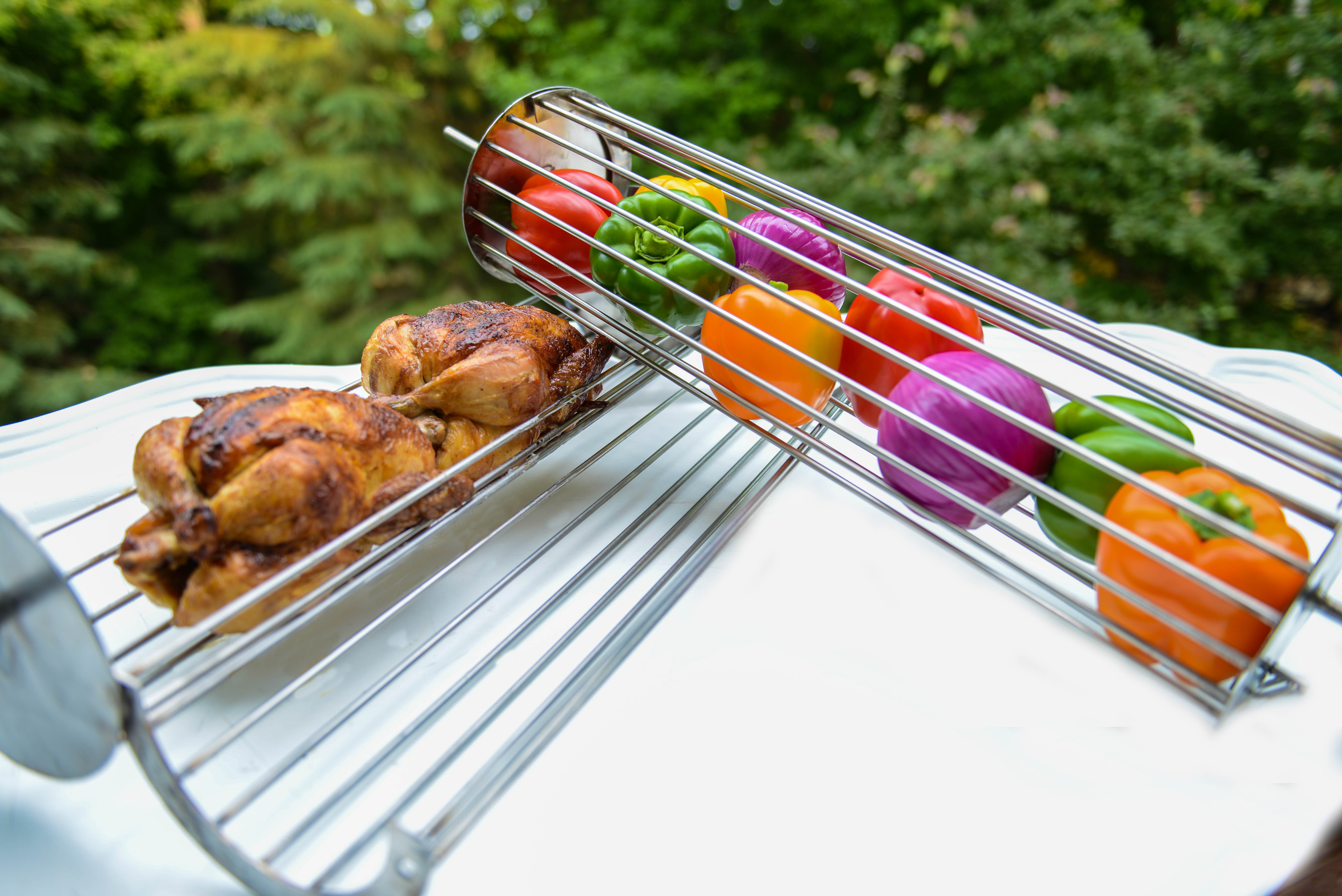 Rotisserie grilled chicken and vegetables