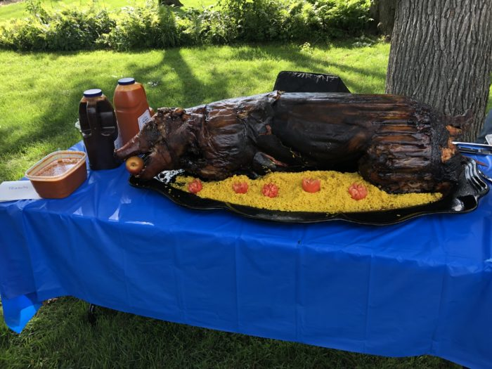 Whole roasted pig.